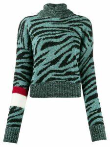 Brognano tiger-pattern rollneck knit jumper - Green
