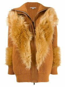 Stella McCartney Fur Free Fur panelled cardi-coat - Brown