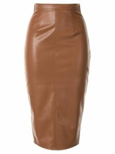 Elisabetta Franchi leather look midi skirt - Brown
