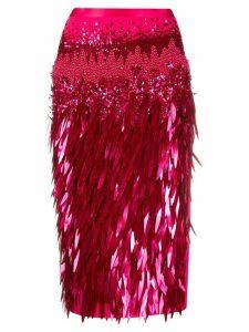 Elisabetta Franchi fringed-panel pencil skirt - Pink