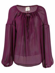 Semicouture oversized long-sleeve blouse - Purple