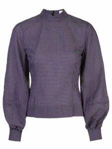 Ganni gingham check pouf-sleeve top - Purple