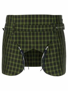 Charlotte Knowles plaid print cut-out detail skirt - Green