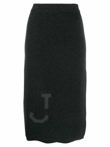 MRZ tonal J motif pencil skirt - Grey