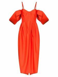 Rosie Assoulin puff sleeve midi dress - Orange