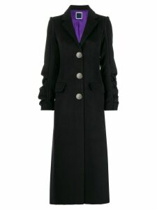 Marco Rambaldi ruched sleeve fitted coat - Black