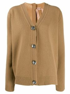 Nº21 crystal detail oversized cardigan - Neutrals