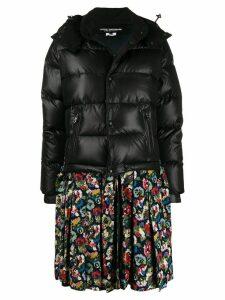 Junya Watanabe contrast zipped parka coat - Black