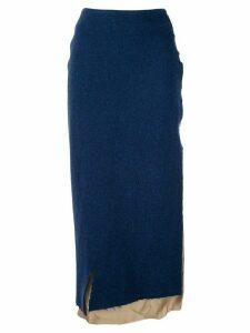 Sulvam two tone layered skirt - Blue