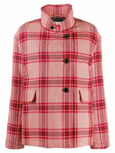 Marni checked single-breasted coat - Red