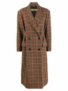 System check double-breasted coat - Brown