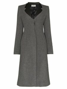 Coperni faux leather-trimmed lapel coat - Grey