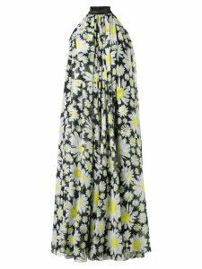 Richard Quinn pleated floral midi dress - White