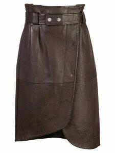 Ganni high-rise wrap-around skirt - Brown