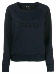 Armani Exchange logo embossed jumper - Blue