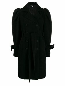 Wandering puff sleeve double-breasted coat - Black