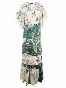 Patbo chinoiserie wrap kimono dress - Blue