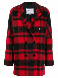Redemption double-breasted check coat - Black