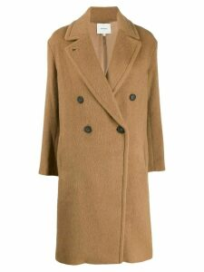 Vince woven double-breasted coat - Brown