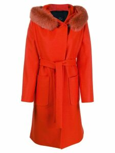 Fay hooded lobster-fastening coat - Red