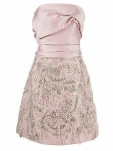 Marchesa strapless draped dress - Pink