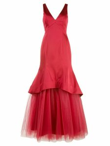 Nha Khanh fluted satin and tulle evening gown - Red