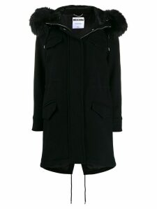 Moschino faux-fur hooded coat - Black