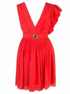 Fausto Puglisi asymmetric-shoulder mini dress - Red