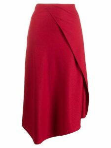 Vince asymmetric draped flannel skirt - Red