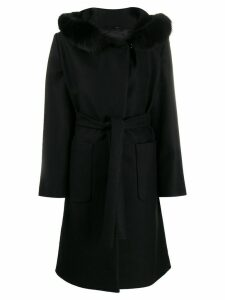 Fay hooded lobster-fastening coat - Black