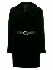 A.P.C. Luisa faux-fur belted coat - Black
