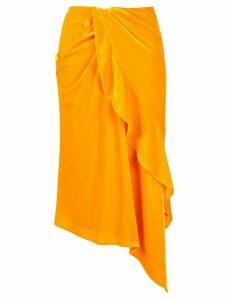 Self-Portrait velvet ruffle midi skirt - Orange