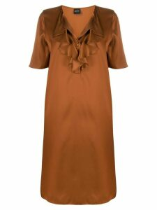 Aspesi ruffled neck silk dress - Brown