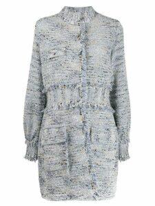 20:52 high-neck tweed coat - Blue