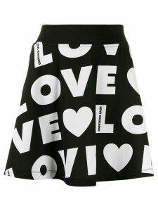 Love Moschino repeat logo flared skirt - Black