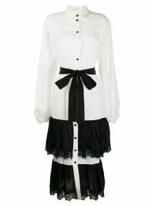 Milla Milla belted ruffled shirt dress - White
