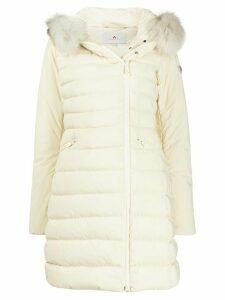 Peuterey fox fur padded hooded coat - NEUTRALS