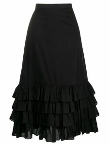 Milla Milla frilled high-rise midi skirt - Black