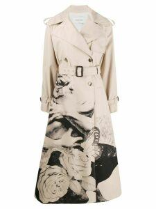 Valentino floral long trench coat - Neutrals