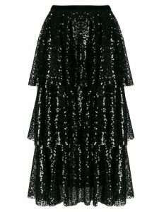 In The Mood For Love tiered sequin skirt - Black