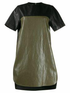 Cédric Charlier two-tone faux-leather dress - Black