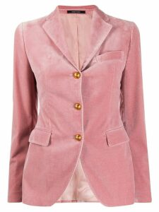 Tagliatore velvet single-breasted blazer - PINK