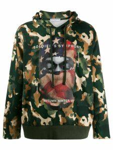Ih Nom Uh Nit balaclava print camouflage hoodie - Green