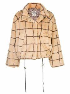 Baum Und Pferdgarten Dina checked faux-fur jacket - Brown