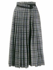 Golden Goose tweed high-rise pleated skirt - Blue