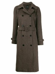 Theory checked belted coat - Brown