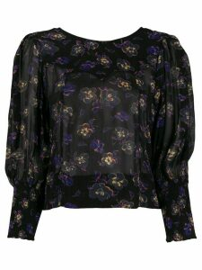 Ganni floral-print blouse - Black