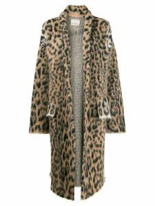 Laneus leopard intarsia coat - Neutrals