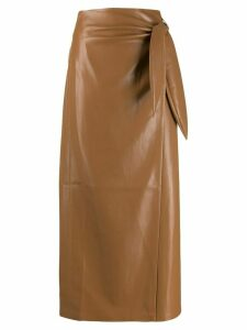 Nanushka faux leather straight skirt - Brown