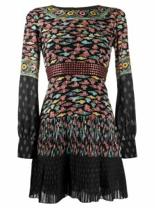 Saloni patchwork pleated dress - Black